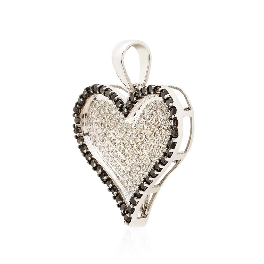 1 15ct White And Black Natural Round Diamond Heart Pendant