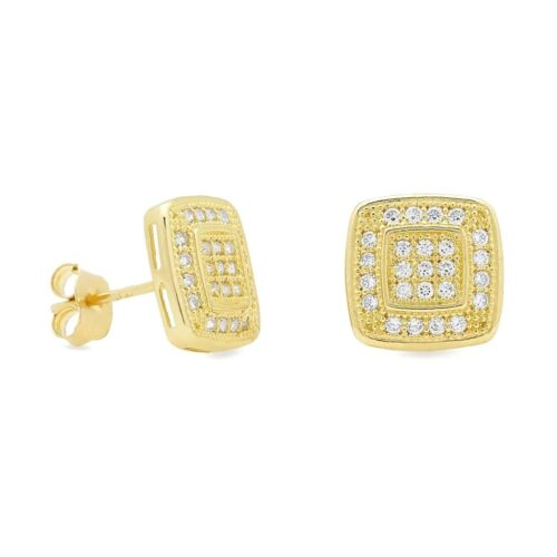 932aabccd 14K Yellow Gold 0.60Ct Created Diamond Square Stud Push Back Earrings