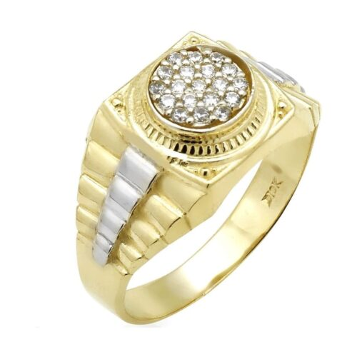10k Yellow & White Gold Men's Jubilee Signet Ring .30Ct Created Diamond