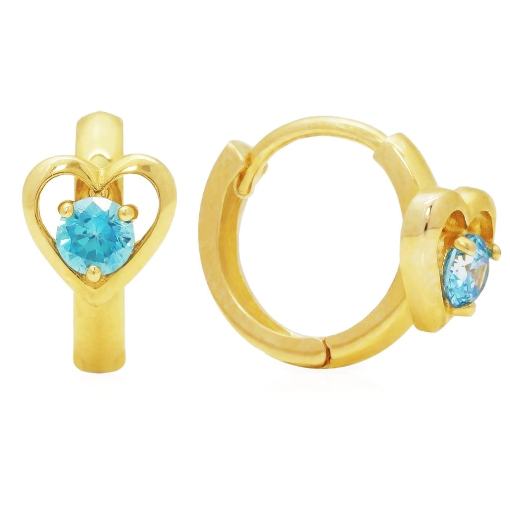 14k Yellow Gold Heart Shape Aquamarine Huggie Hoop