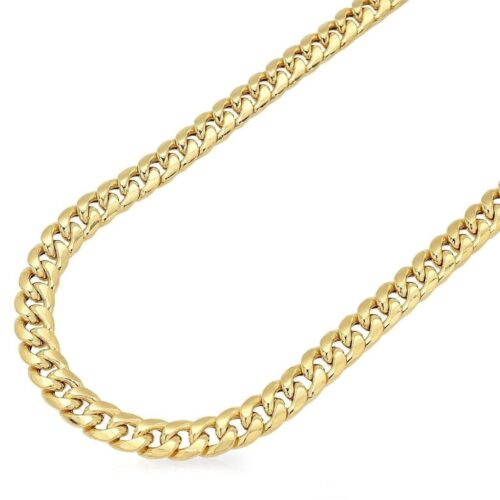 14K Yellow Gold 6mm Miami Cuban Box Lock Chain Necklace 22-34""