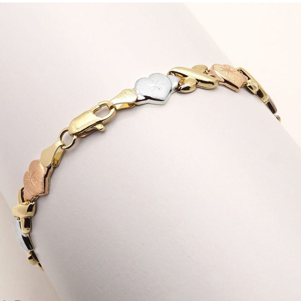 Hearts And Kisses Bracelet: 14k Tri-Color Yellow White Pink Gold X Hearts Hugs Kisses