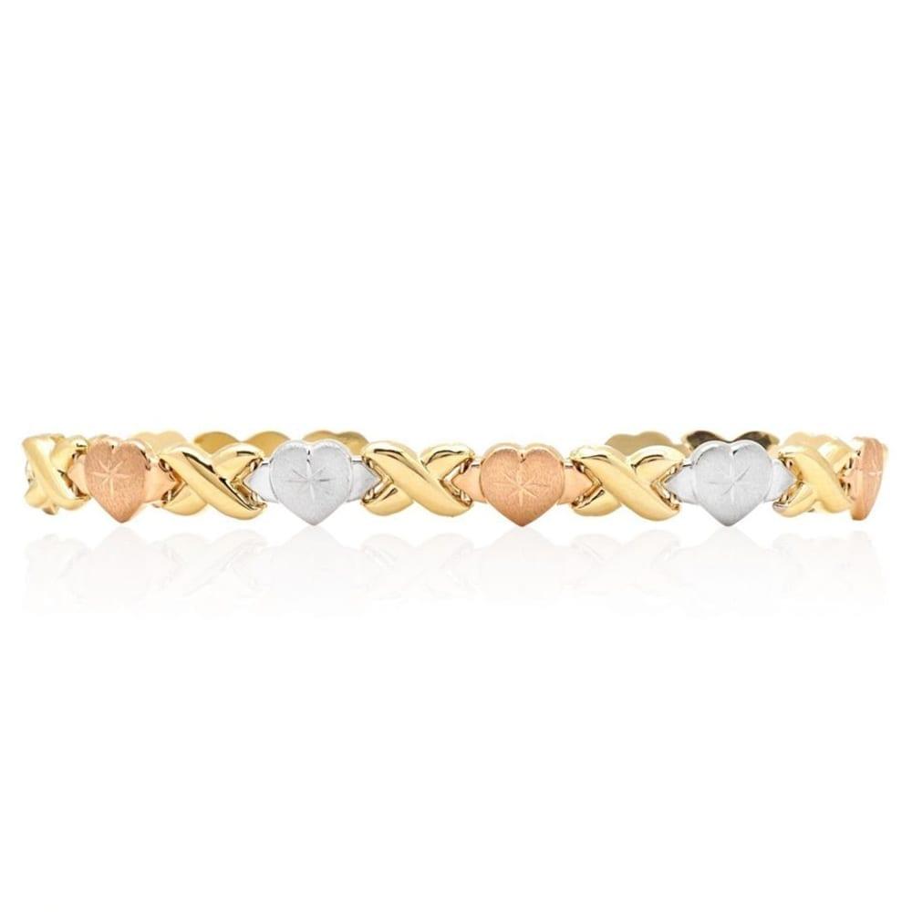Hearts And Kisses Bracelet: 14k Yellow White Rose Gold Tri-Color XO Hearts Kisses