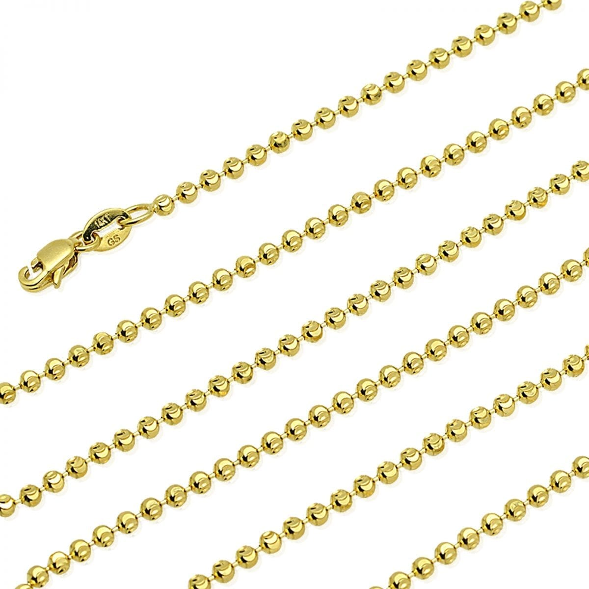 52a56f540a4051 Solid 14K Yellow Gold Half Moon Cut 2mm Bead Ball Chain Necklace 20″-28″ |  WJD Exclusives