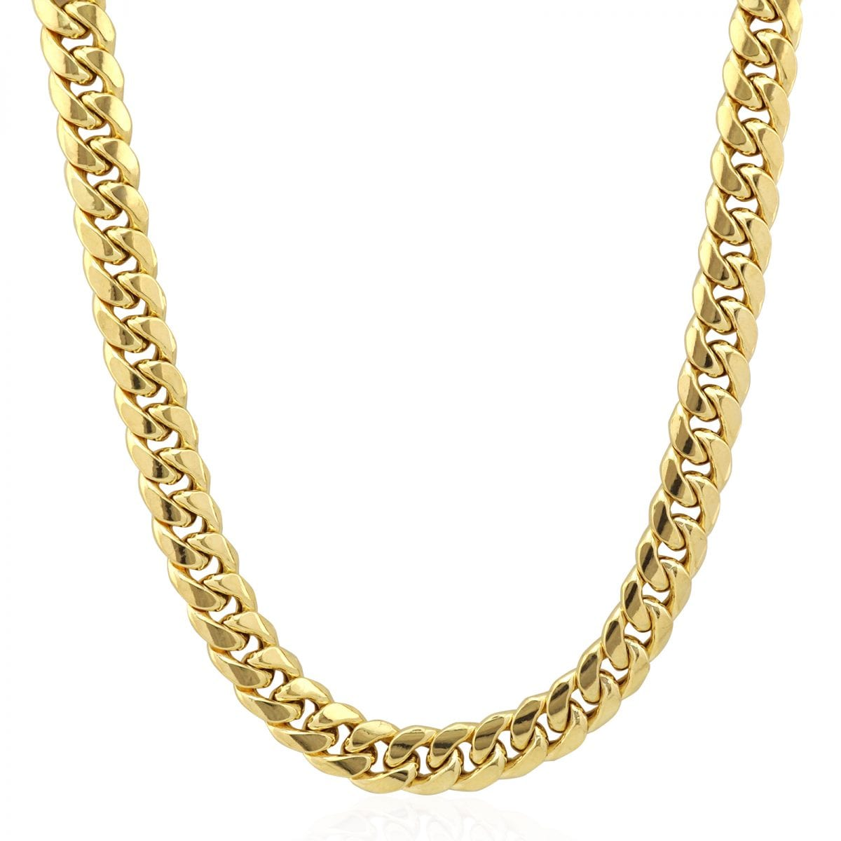10k Yellow Gold 8mm Wide Miami Cuban Link Box Clasp Lock