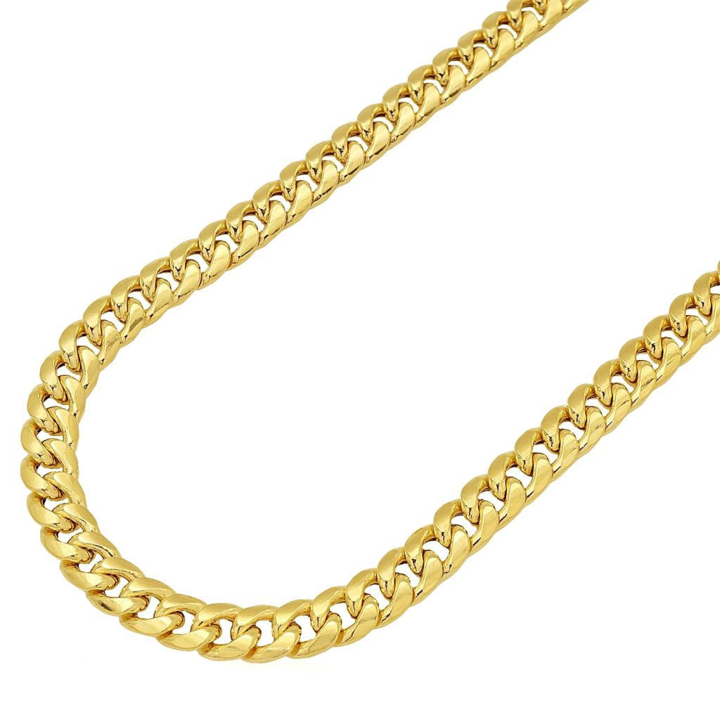 inch plated necklace gold products sterling cuban chain silver real goldtone