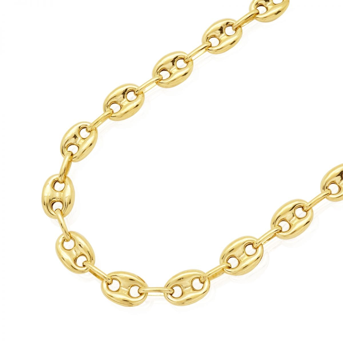 996aed969e9f3e 14k Yellow Gold 8.7mm Puffed Anchor Mariner Chain Necklace 22″-36″ Lobster  Clasp | WJD Exclusives