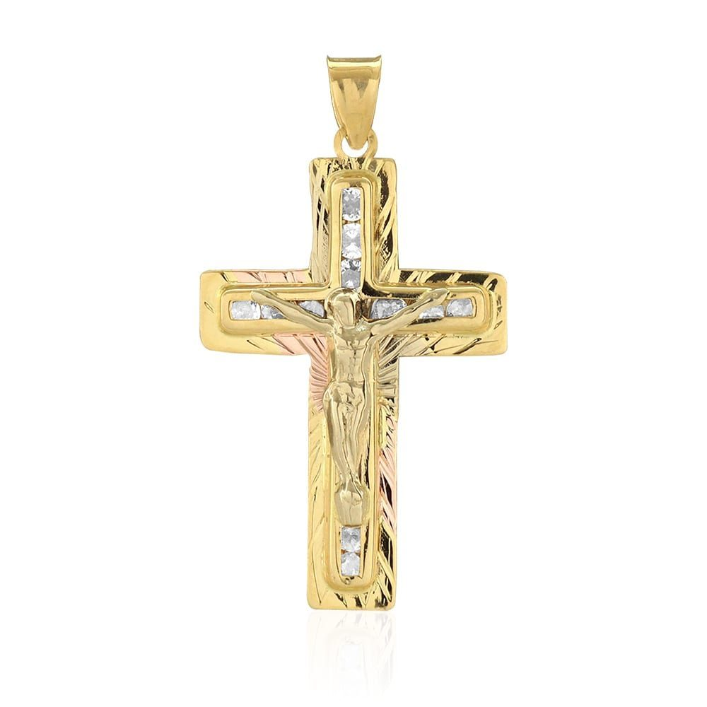 205893de2040d 14k Yellow Gold 1Ct Created Diamond Jesus Crucifix Cross Pendant