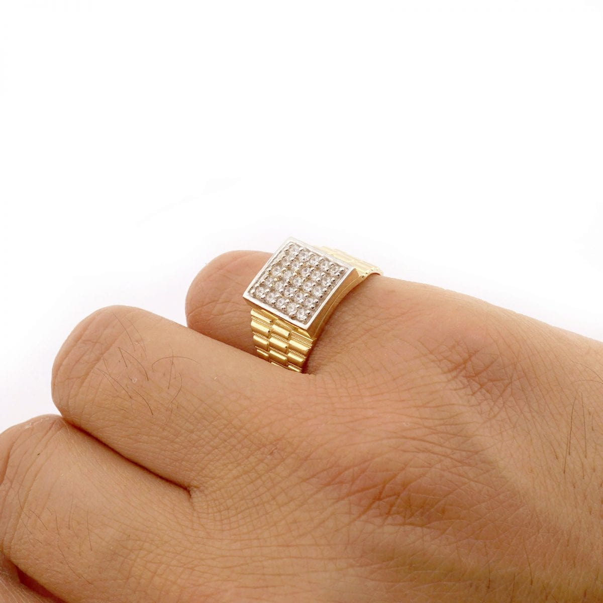10k Solid Yellow Gold Simulated Diamond Pave Square Men S