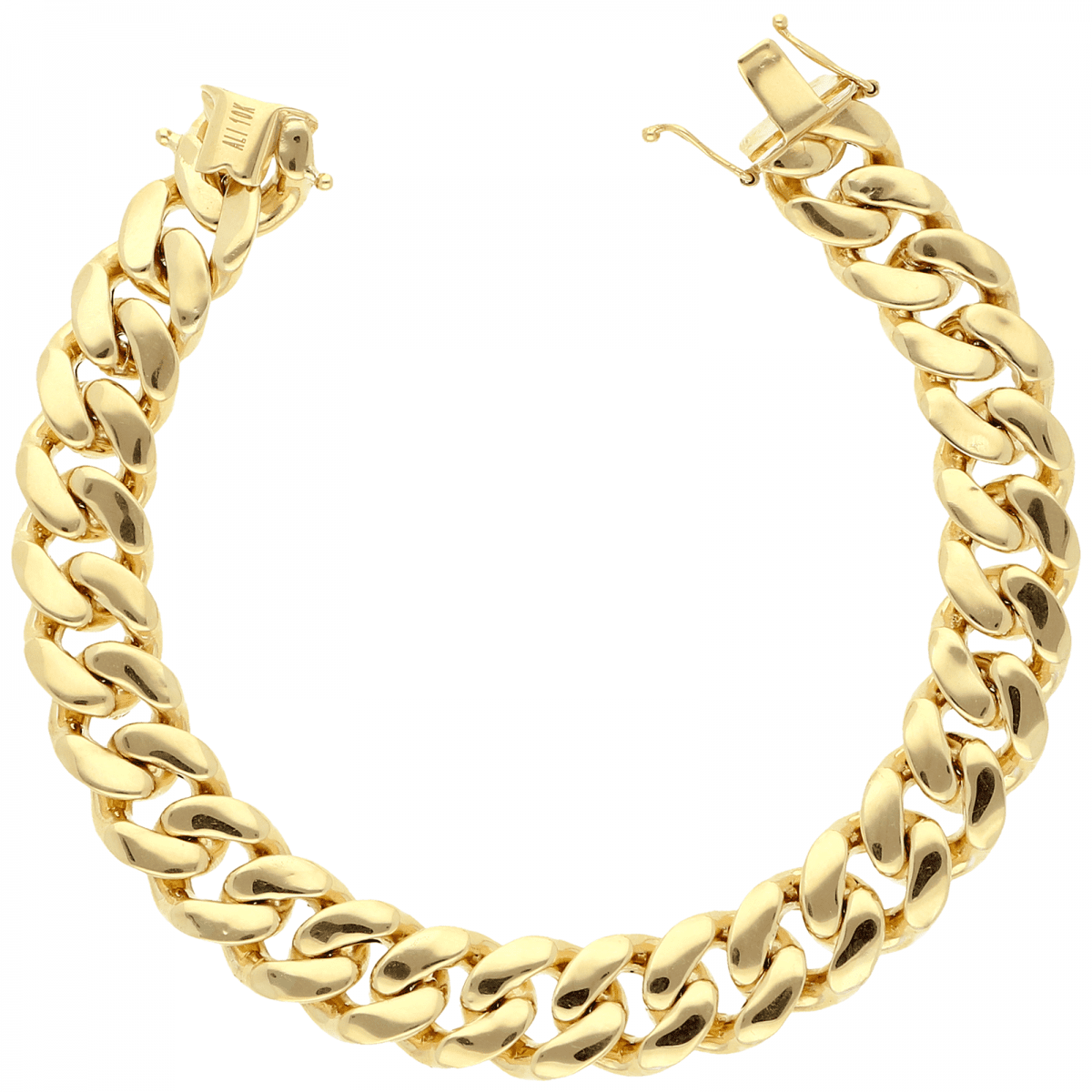 10k Yellow Gold 11mm Wide Miami Cuban Link Box Clasp Lock
