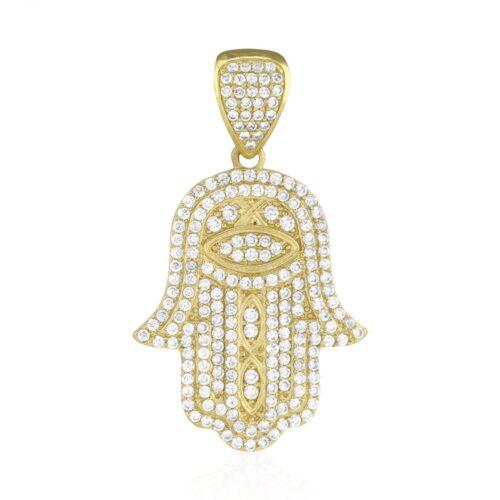 Mens hamsa pendants wjd exclusives 3ct simulated diamond hamsa hand of fatima 10k yellow gold pendant 157 mozeypictures Gallery