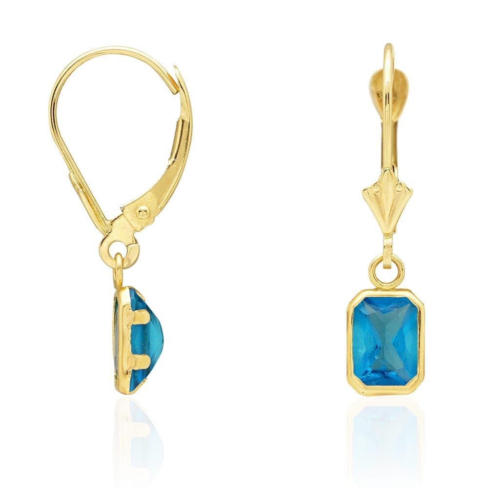 14k Yellow Gold Emerald Cut Bezel Set Birthstone Dangle