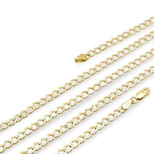 "14k Yellow Gold 3.5mm Diamond Cut Cuban Curb Chain Necklace 16""-28"""