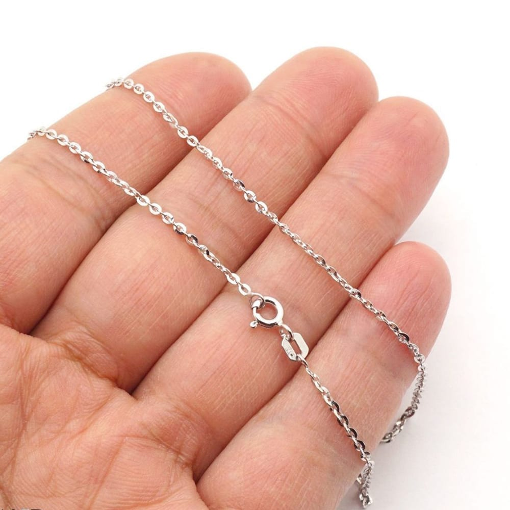14k Solid White Gold 1 6mm Flat Cable Diamond Cut Chain