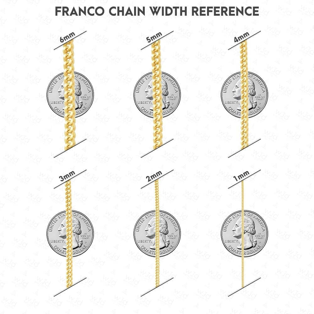 Solid 14k Yellow White Amp Rose Gold 1 2mm Franco Chain 16