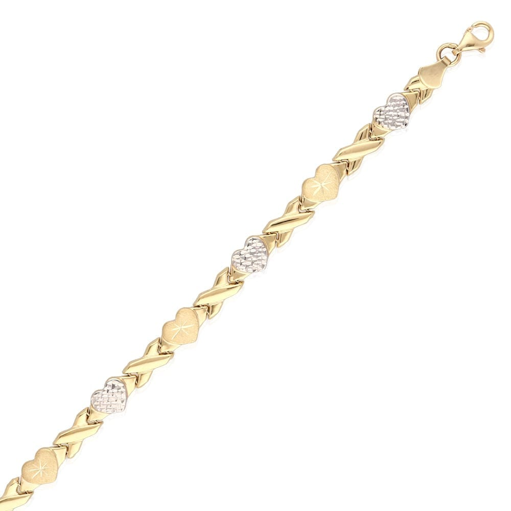 3e1ad56715 14k Yellow Gold White Gold Two-Tone Anklet XO Hearts & Kisses Ankle Bracelet  10″ | WJD Exclusives