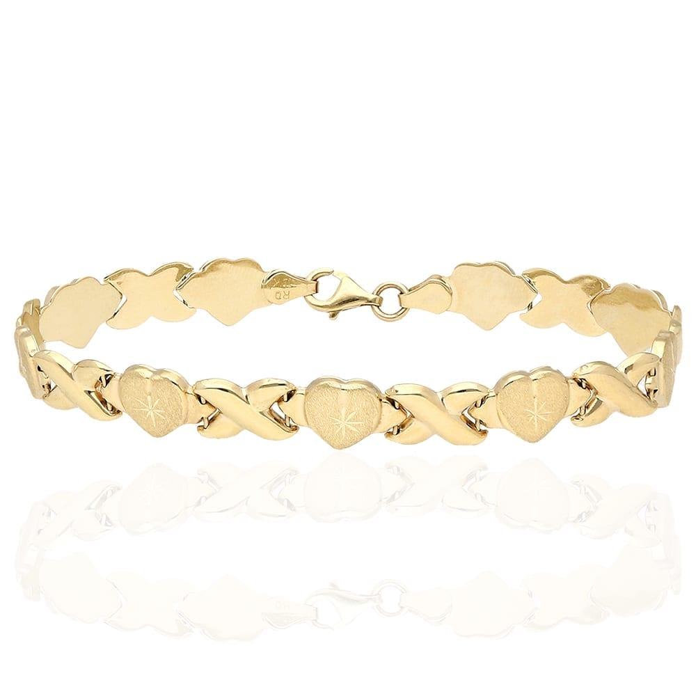 "a04737d9e 10k Yellow Gold Diamond Cut ""XO"" Hearts & Kisses Bracelet 7.25″ 8″ | WJD  Exclusives"