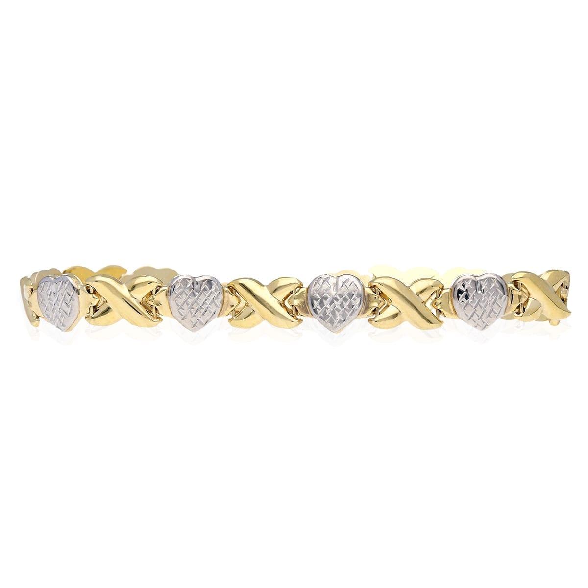 "717877d28 10k Yellow & White Gold Two-Tone Diamond Cut ""XO"" Hearts & Kisses Bracelet  7.25″ | WJD Exclusives"