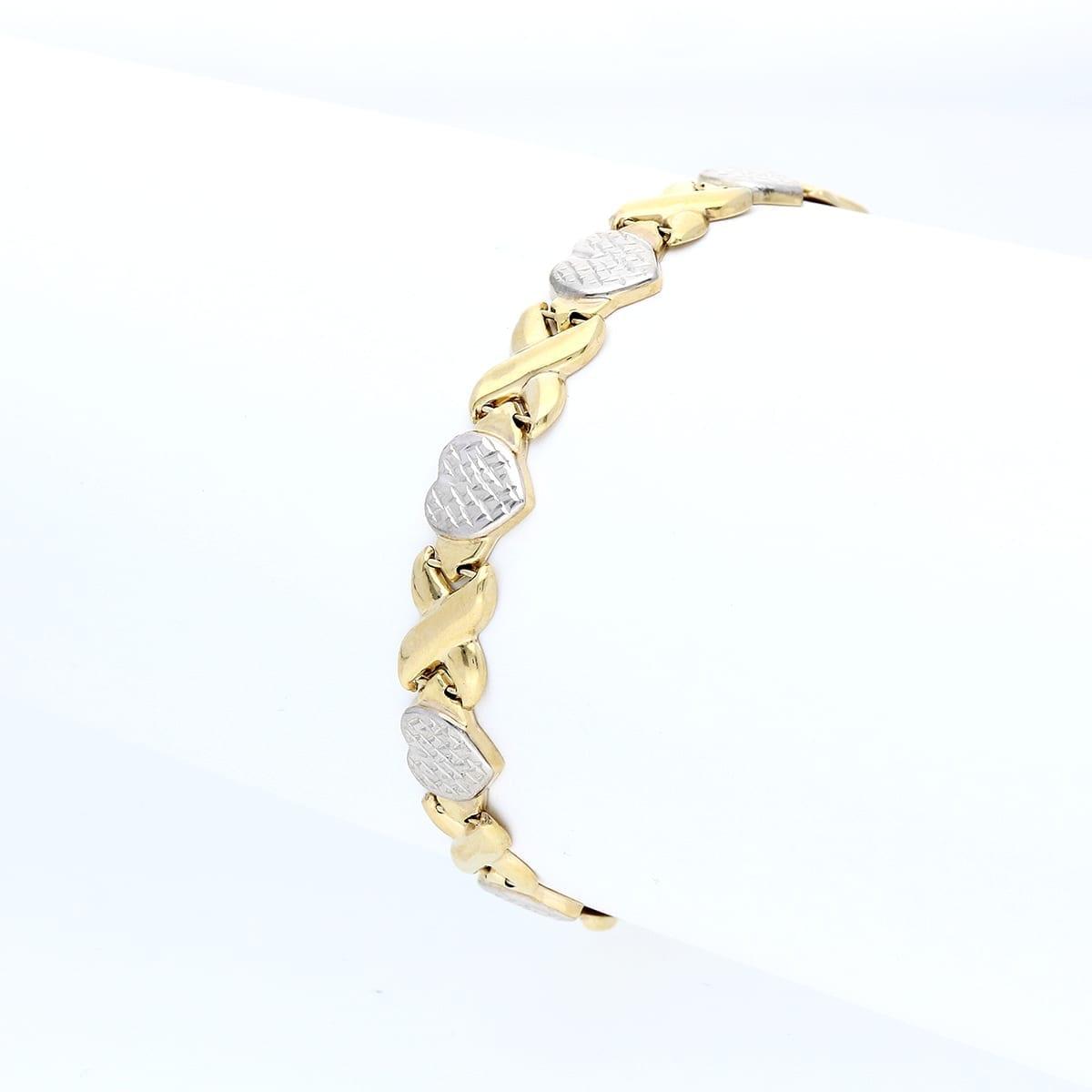 "8034a0fe4 10k Yellow & White Gold Two-Tone Diamond Cut ""XO"" Hearts & Kisses ..."