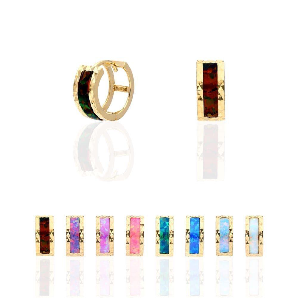 c4645f7ac552b 14k Yellow Gold Diamond Cut Fire Opal Huggie Hoop Earrings 0.5