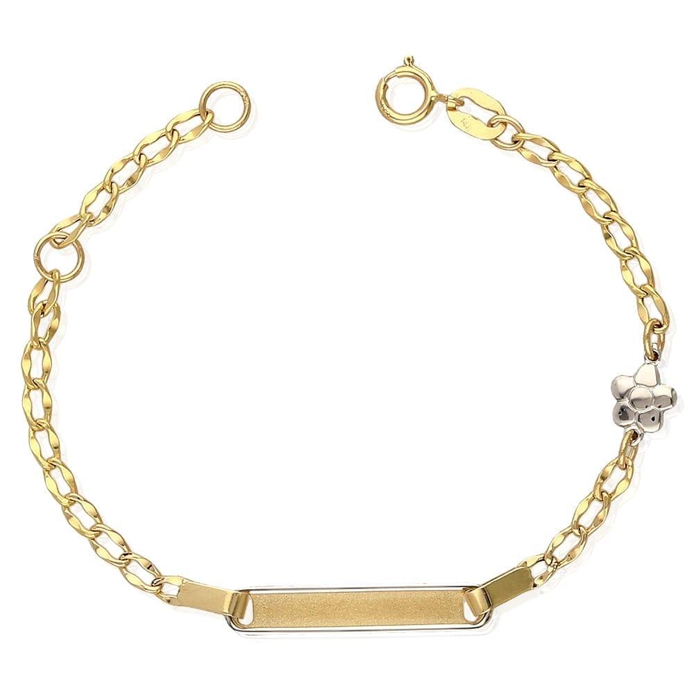 d0a0e2e8ec243 14k Yellow Gold Cuban Link Flower Charm Adjustable Kids ID Bracelet  4.5