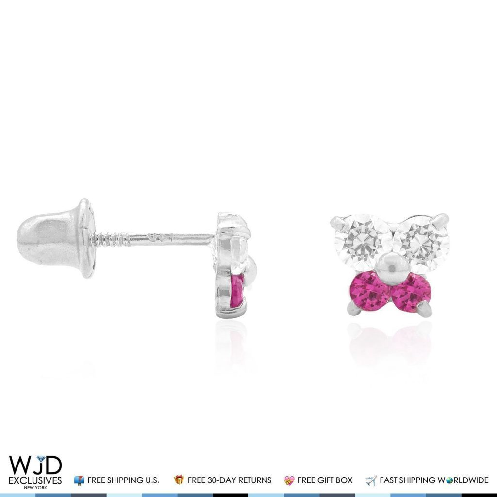 ruby earrings for babies 14k white gold simulated ruby butterfly baby 1201