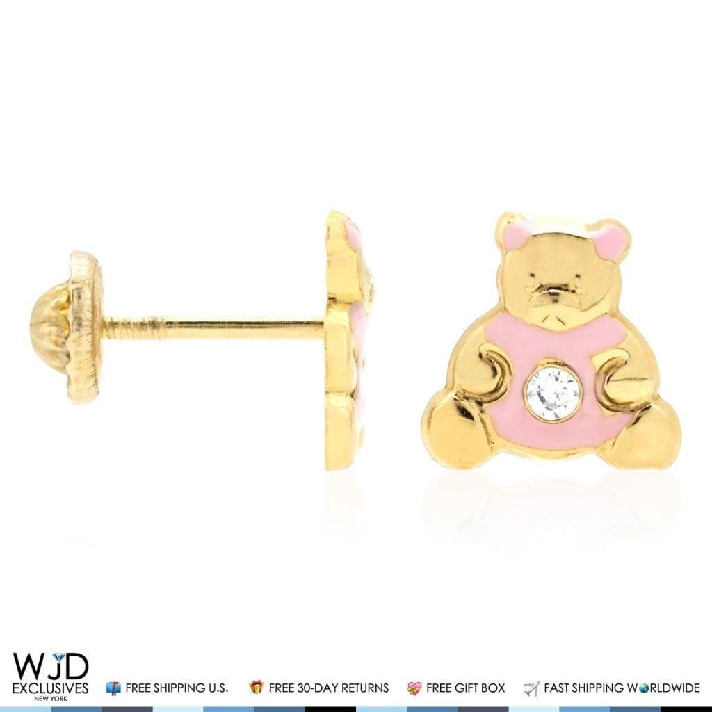 14K Solid Yellow Gold Red Enamel /& Zircon Teddy Bear Screwback Stud Kid Earrings