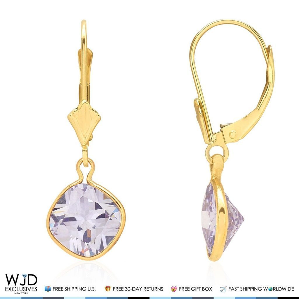 Bezel Set Square Ruby Birthstone Drop Dangle Leverback Earrings 14K Yellow Gold