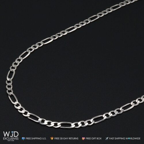 fe5fe3135be5 925 Sterling Silver 77mm Polished Figaro Anchor Link Chain