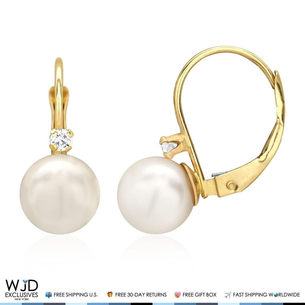14k Solid Yellow Gold 7mm Diameter Ball Pearl And Zircon