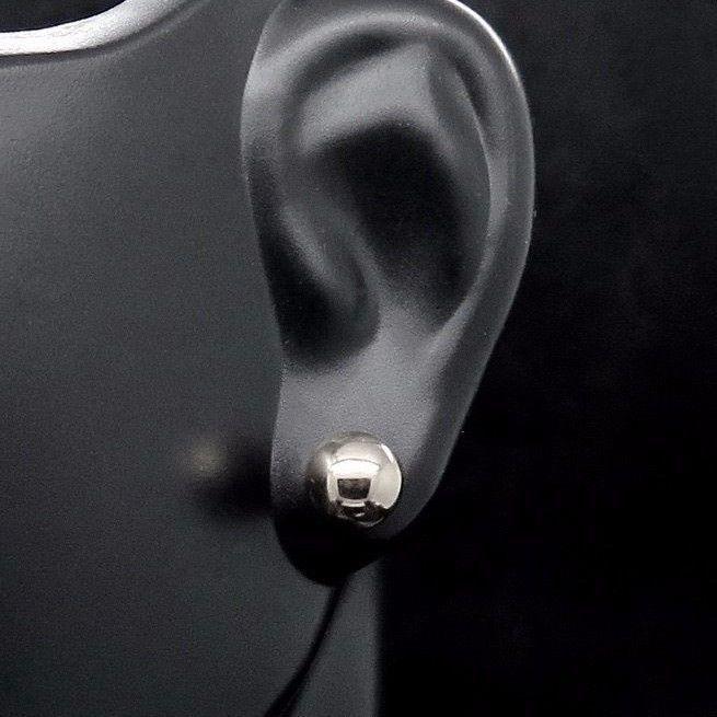 14K White Gold Polished 6 mm Ball Post Earrings
