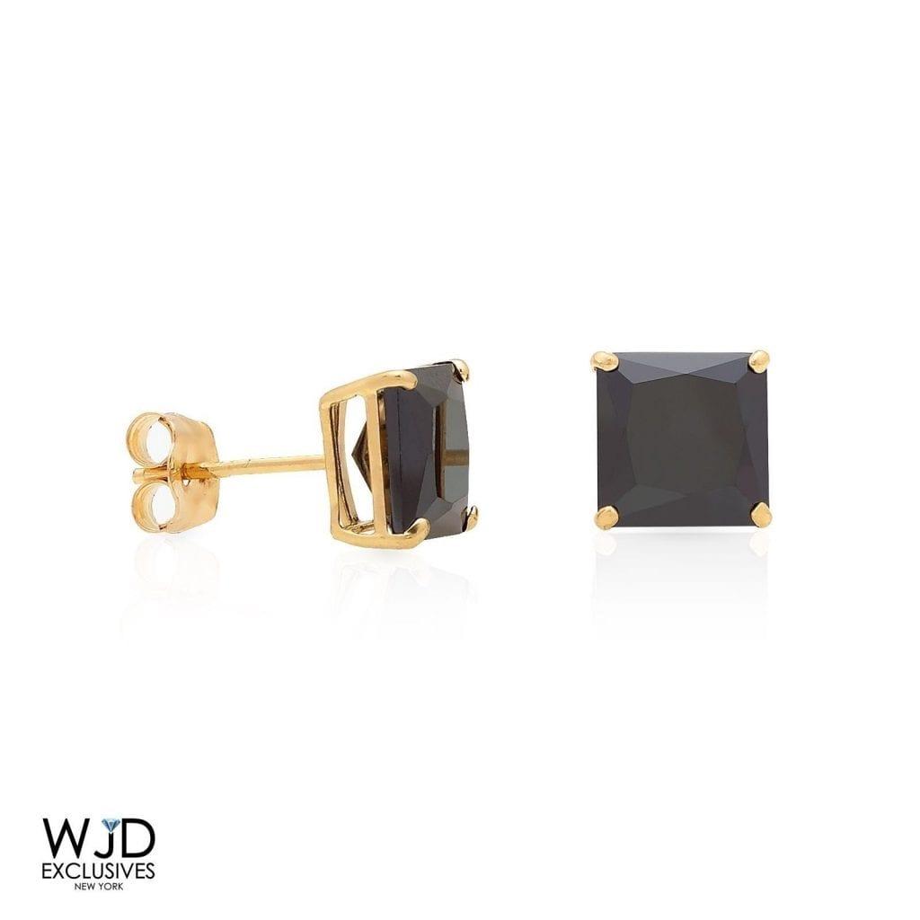 5897973c8 2.5Ct Created Black Diamond 14K Yellow Gold Princess Cut Pushback Earrings  | WJD Exclusives