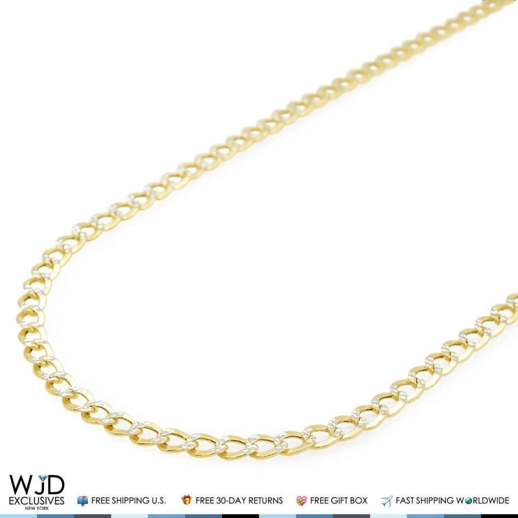 551ee0b3d 14K Yellow Gold Diamond Cut Pave 4mm Cuban Curb Link Chain Necklace 20″ |  WJD Exclusives