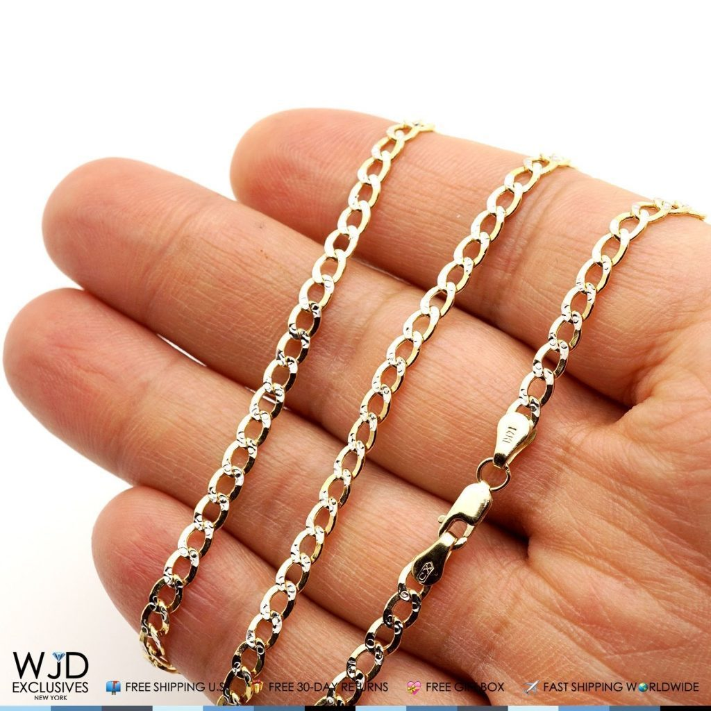 f8c67e073 14K Yellow Gold Diamond Cut Pave 4mm Cuban Curb Link Chain Necklace ...