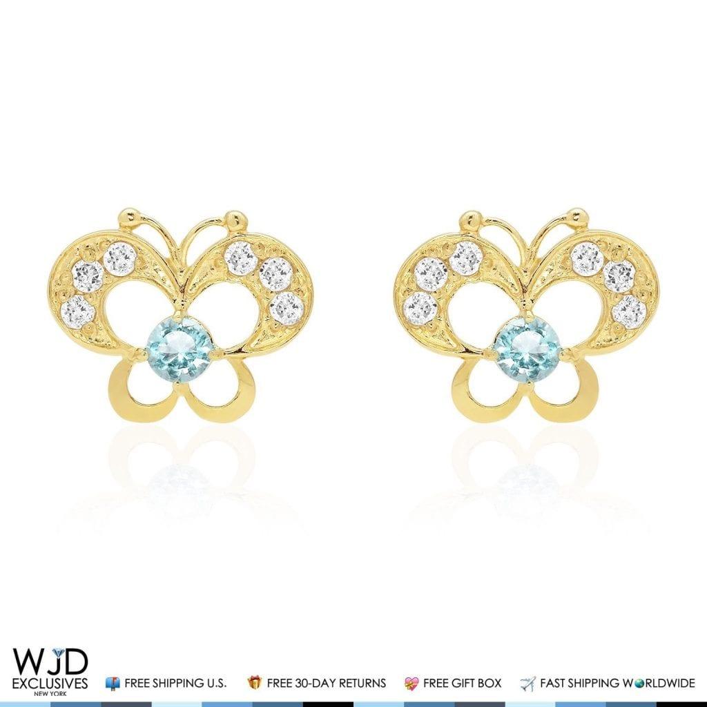 14K Yellow Gold White Zircon & Aquamarine Butterfly Screwback Stud ...