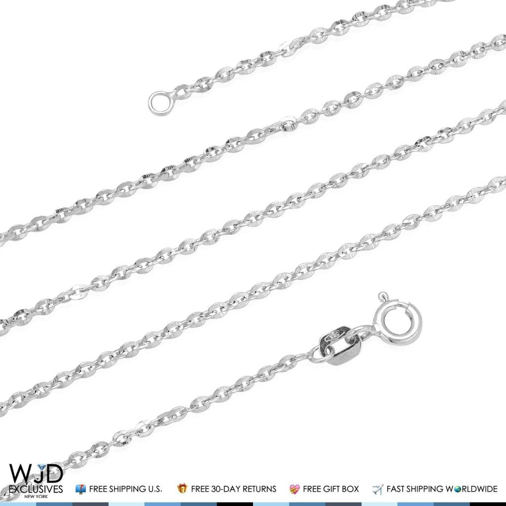 14k solid white gold flat link cable diamond cut chain