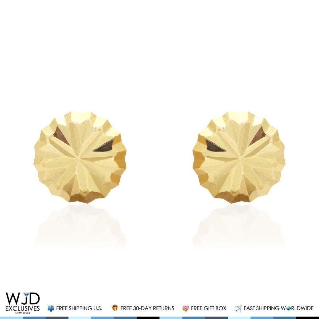 14K Gold Round 8mm Crystal-cut Diamond Cut Ball Earrings