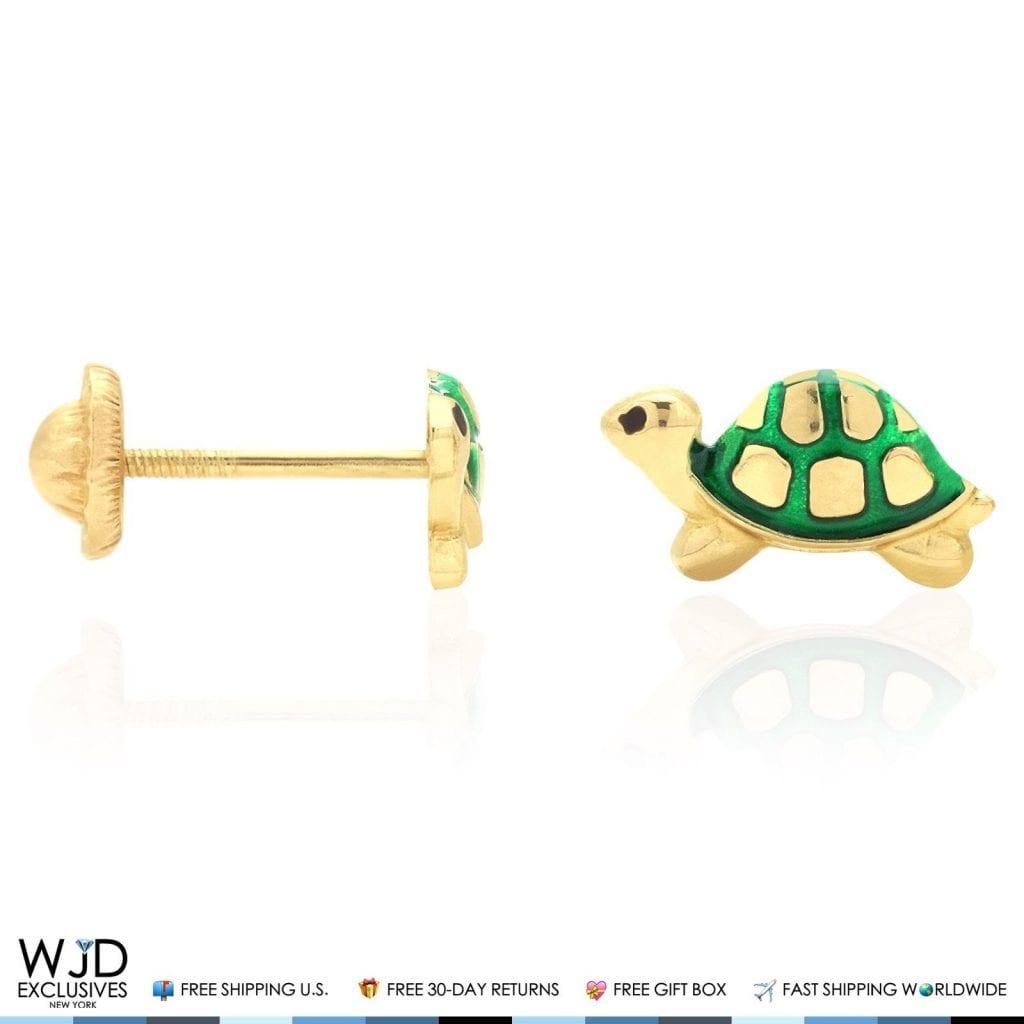 74af06562 14K Solid Yellow Gold Green Enamel Turtle Baby Screwback Stud Kid Earrings    WJD Exclusives