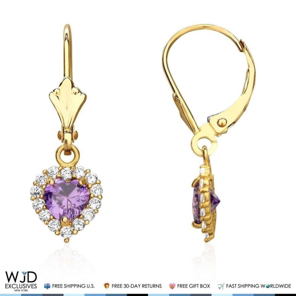 K Yellow Gold Diamond Leverback Earrings