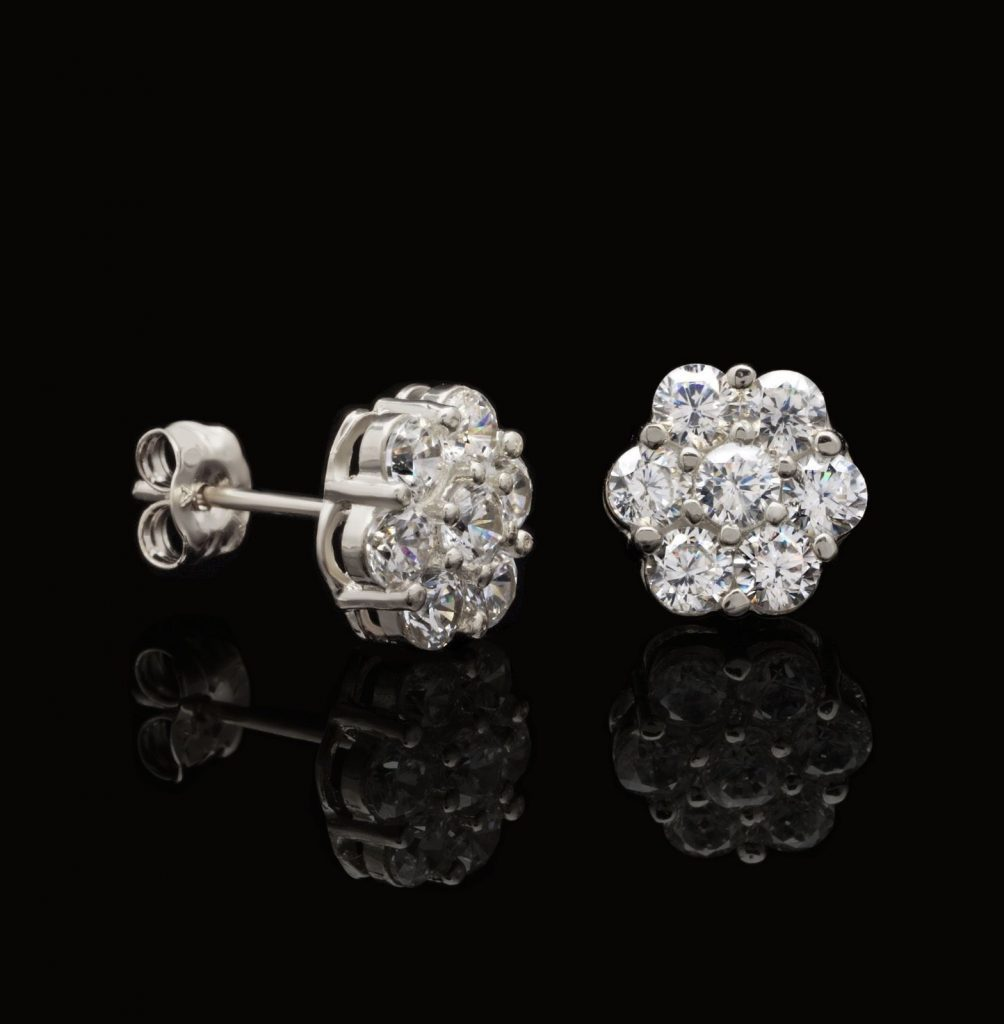 diamond v solitaire white in tw ct gold t p w earrings