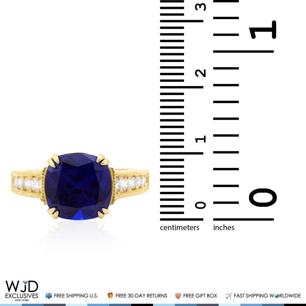 diamonds yellow gold with sapphire tw blue ring in