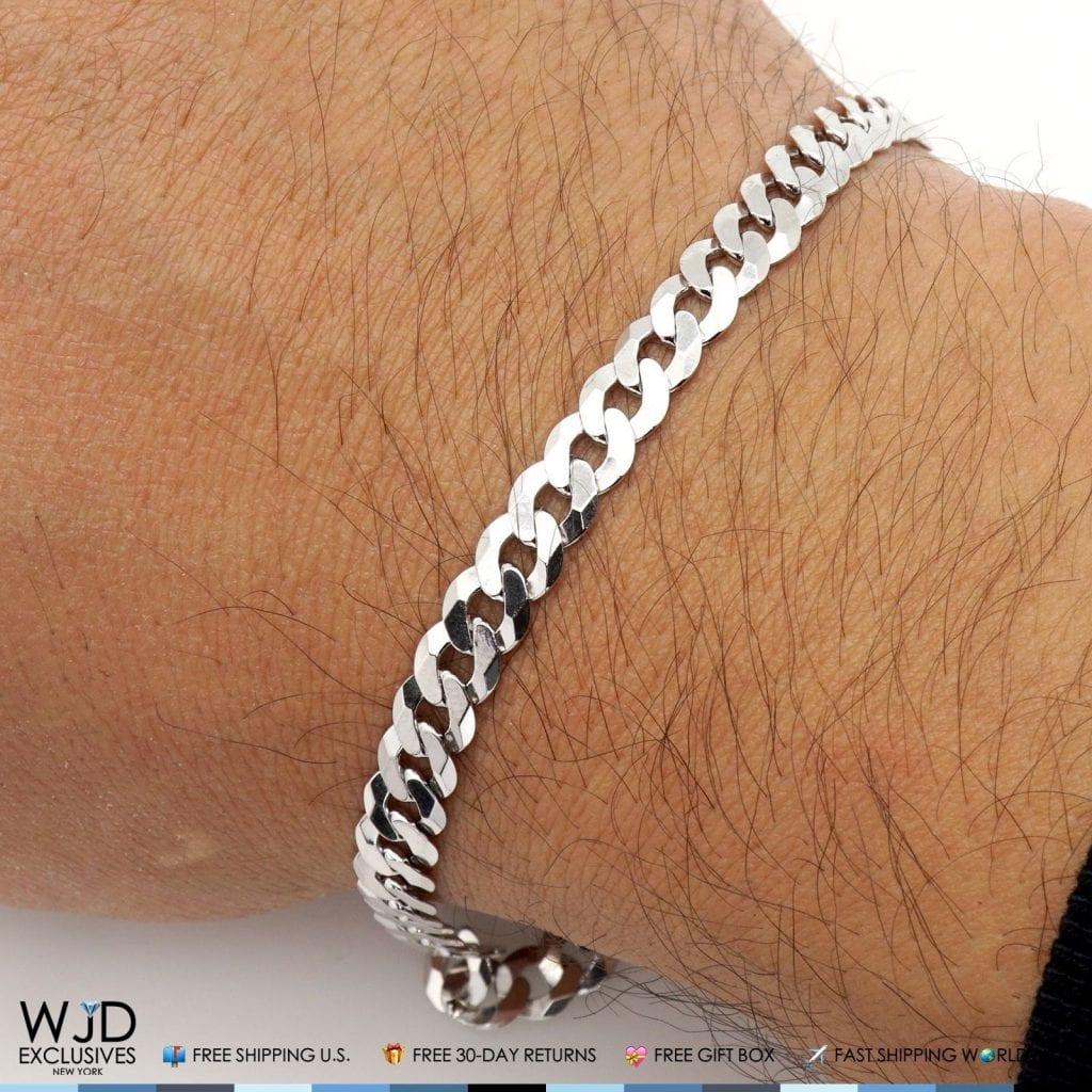 Silver Chain Link Bracelet: 925 Sterling Silver 6mm Miami Cuban Curb Link Chain
