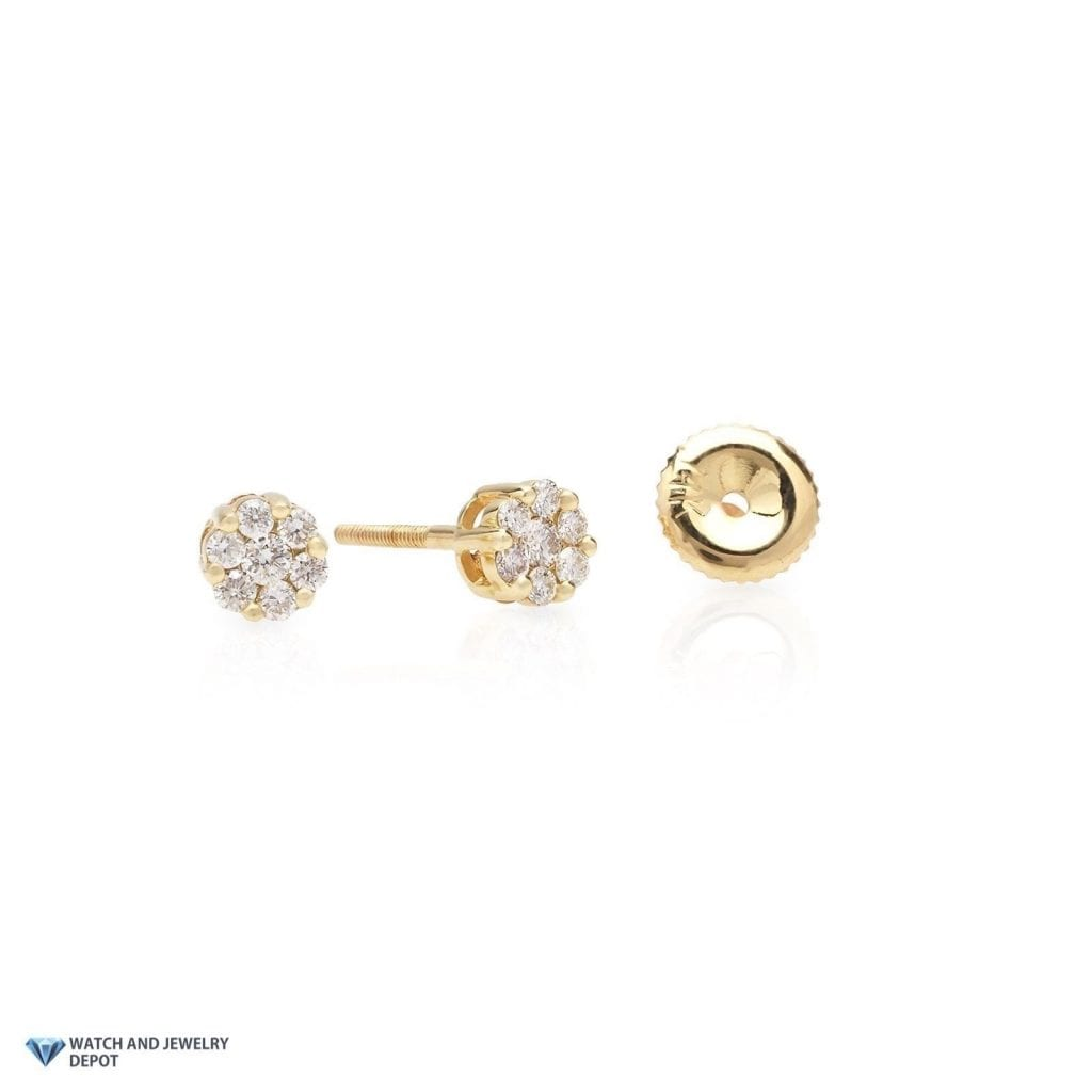 0.35Ct Natural Diamond 14K Yellow Gold Small Flower Cluster Round ...