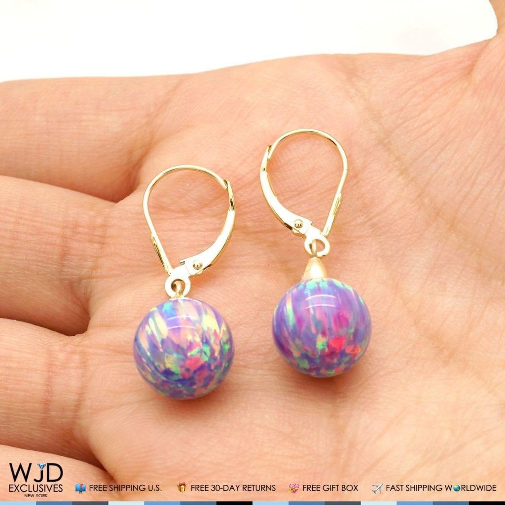 10 mm Ball Shaped Purple Fire Opal Leverback Dangle Earrings 14K Yellow Gold 1