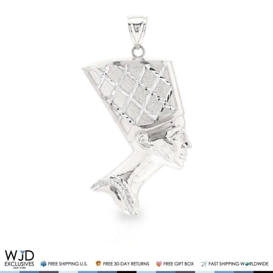 10k real white gold diamond cut egyptian queen nefertiti charm mozeypictures