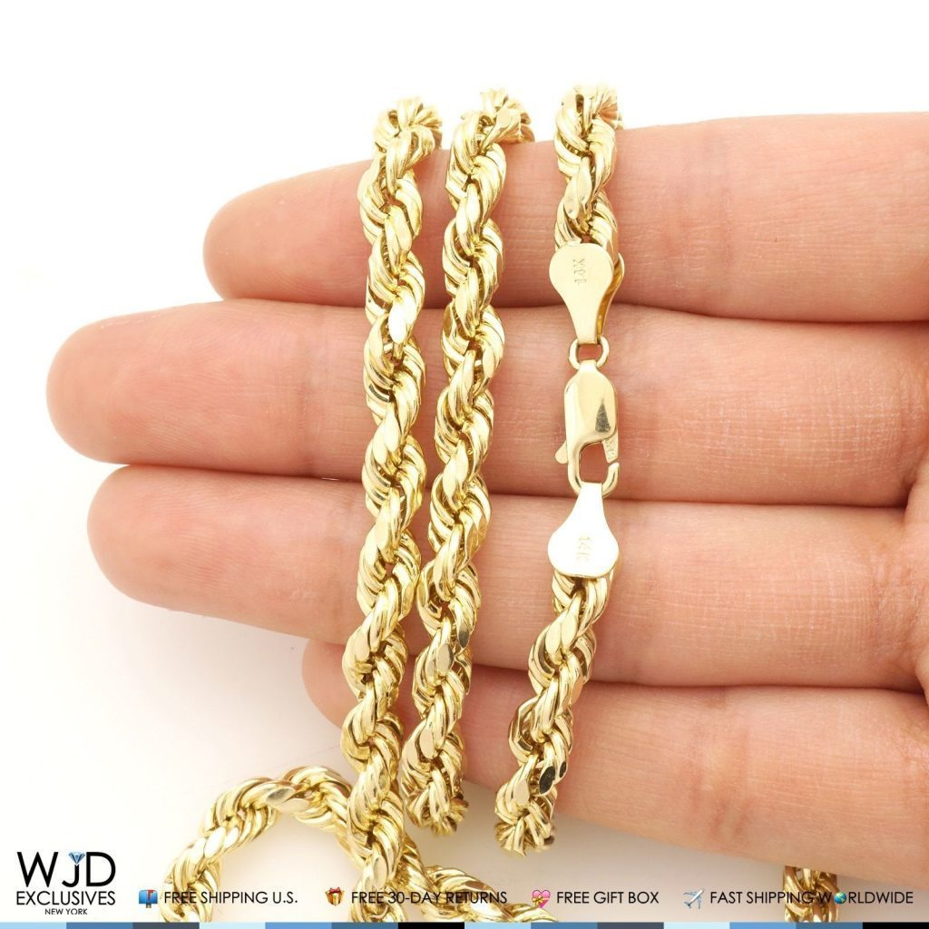14k Yellow Gold 5 5mm Thick Diamond Cut Rope Link Chain
