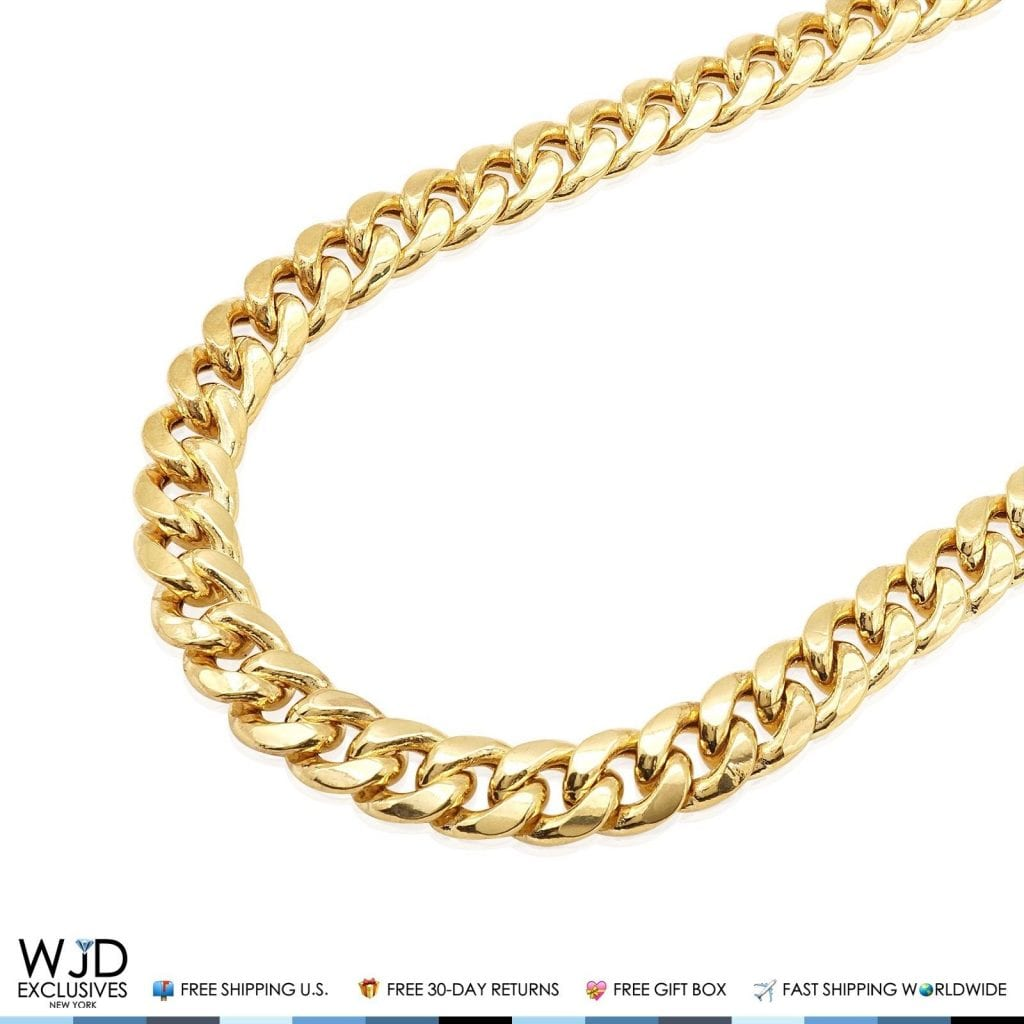 c89f1d199775a 14K Solid Yellow Gold 13mm Hollow Miami Cuban Link Chain Necklace 26
