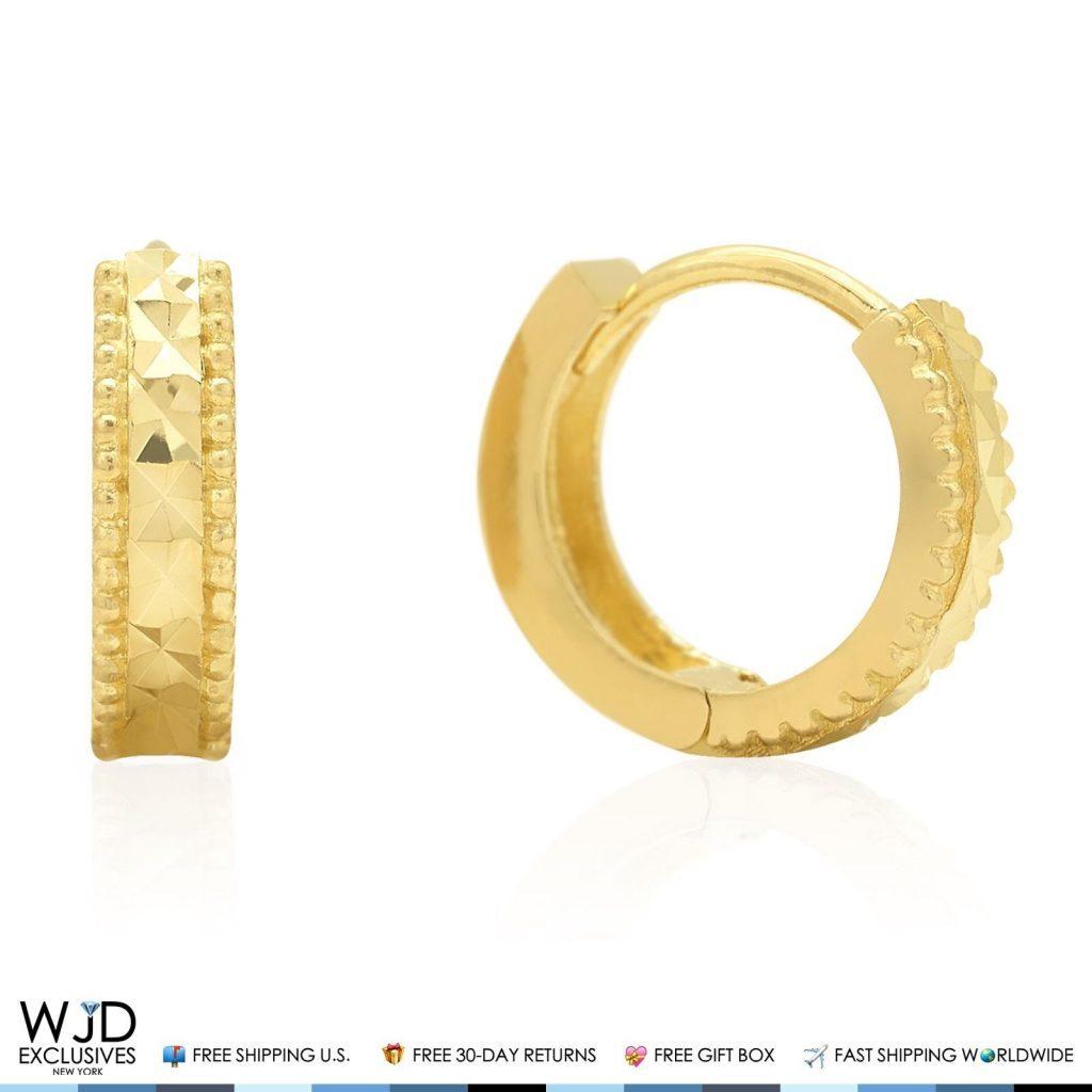 K Yellow Gold Diamond Huggie Hoop Earrings