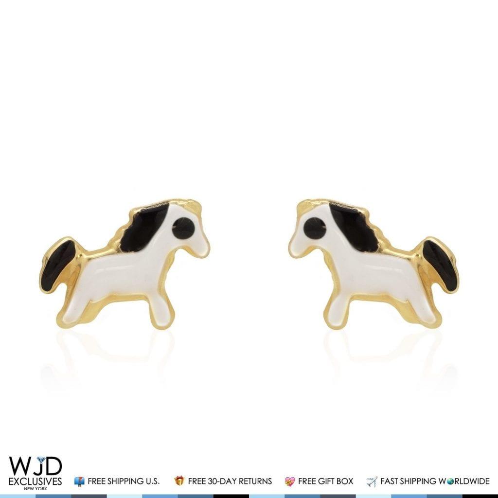 14k Solid Yellow Gold Black White Enamel Horse Back Stud Kids Earrings Wjd Exclusives