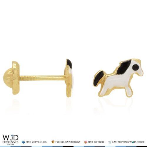 14k Solid Yellow Gold Black White Enamel Horse Back Stud Kids Earrings